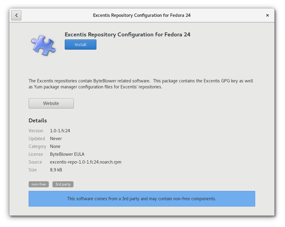 Installation of Excentis Repository Configuration